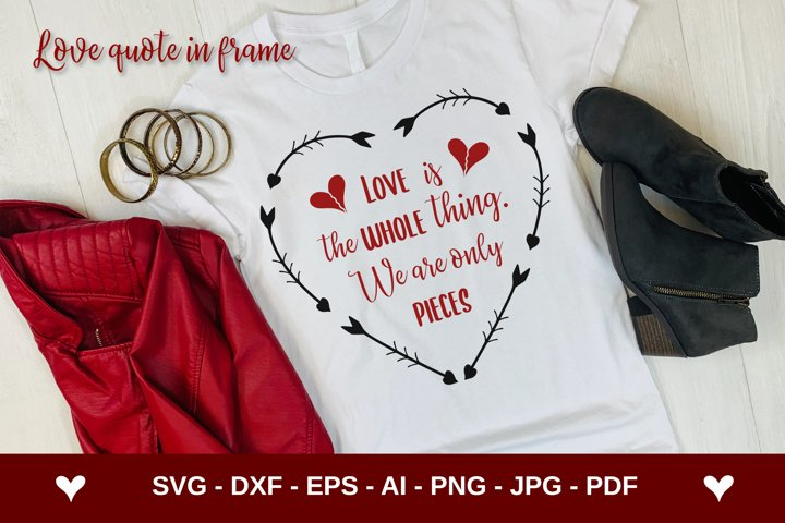 Valentines Day saying in arrows frame SVG | Quote