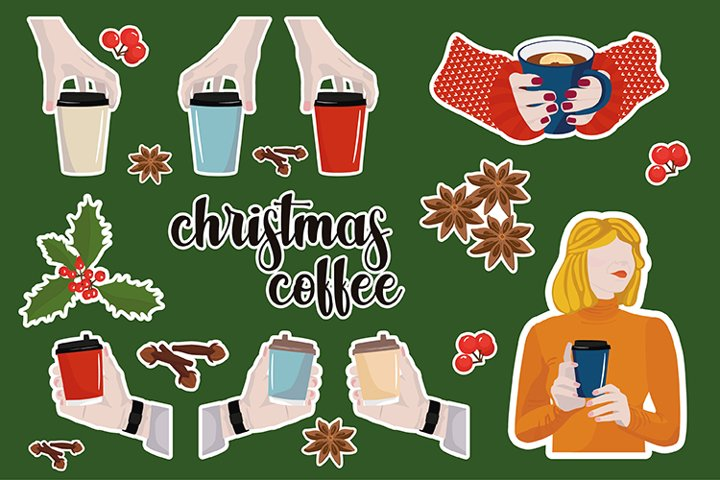 Vector stickers. Christmas coffee. Girl and coffee.