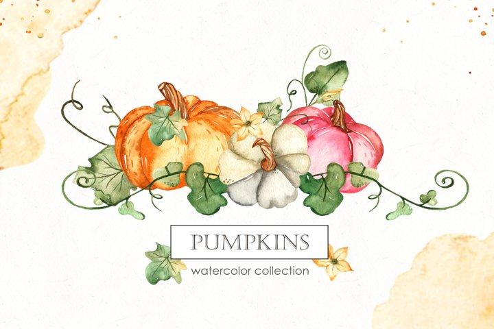 Watercolor Pumpkins. Clipart, cards, seamless patterns
