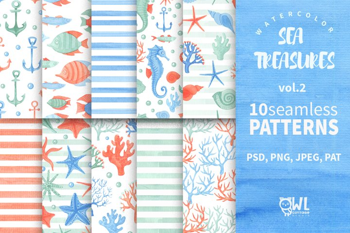 Collection of Watercolor Seamless Patterns