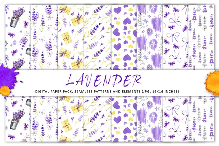 Lavender flowers. Digital paper, seamless pattern, elements.