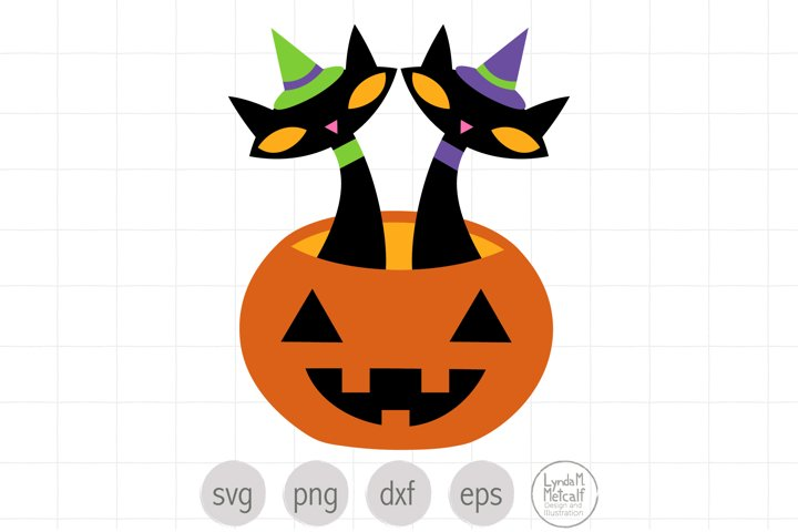 Halloween Black Cats in Pumpkin SVG and Clipart