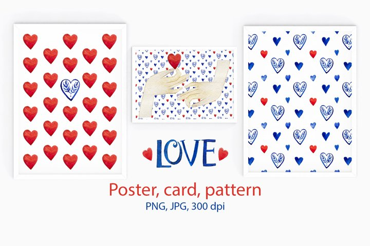 Valentines pattern & card & poster. Love