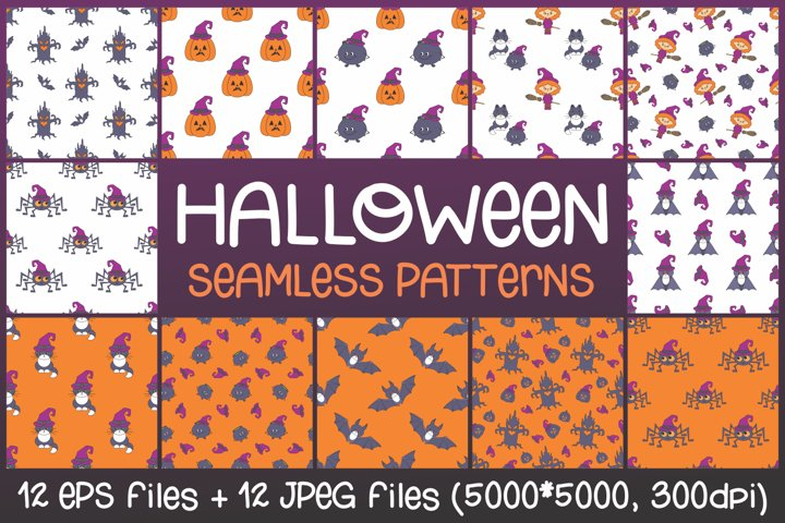 Halloween seamless patterns with cute characters