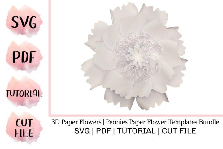 3D Paper Flowers | Peonies Paper Flower Templates Bundle