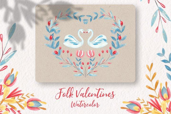 Folk Art Valentines Watercolor Clipart