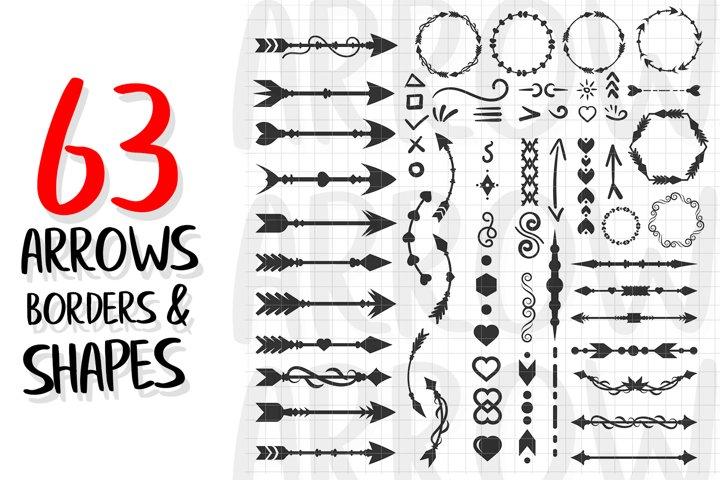 Frames. Arrows, Borders, Dividers, Shapes, SVG Pack Vector