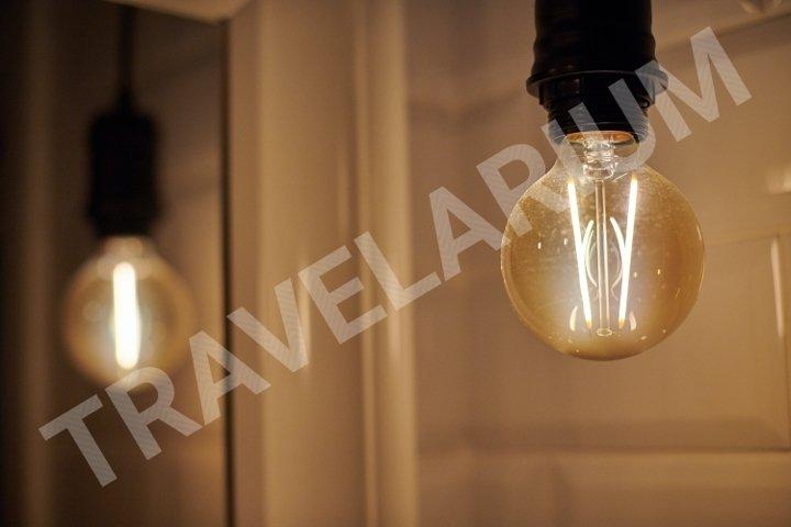 Factory filament lamp. Vintage loft lamp bulb. Low light