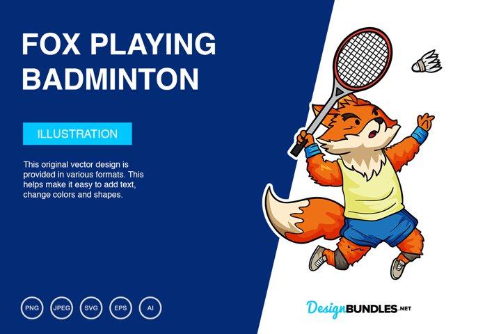 Fox Playing Badminton Vector Illustration