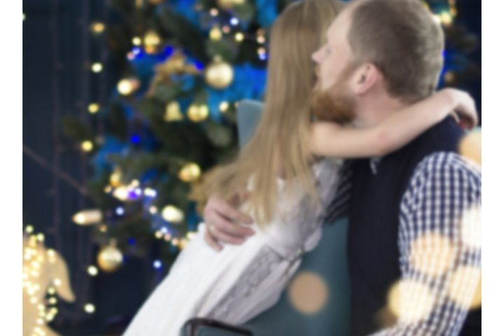 Dad and daughters celebrate Christmas