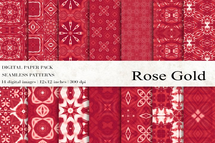 Rose Gold Digital Papers, Rose Gold seamless Patterns