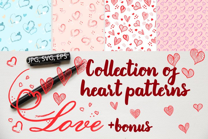 Collection of heart patterns