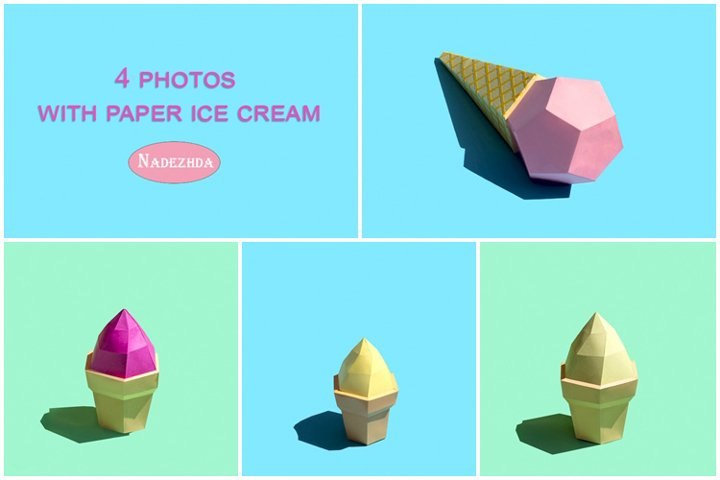 Paper ice cream in waffle cups and cone
