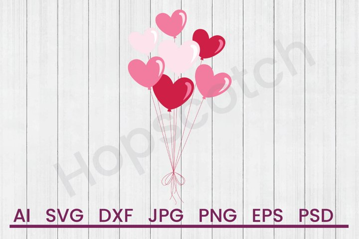 Heart Balloons SVG, DXF File, Cuttatable File