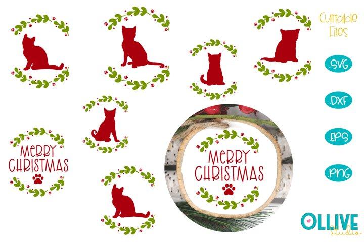 Cats Christmas Round Ornament Bundle SVG