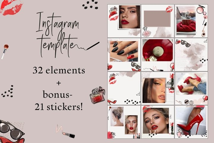 Canva Over Instagram templates.Beauty BUNDLE.