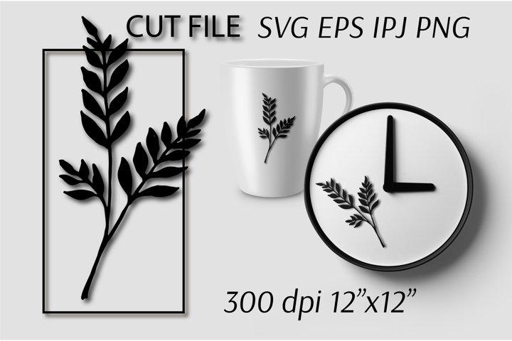 Leaf SVG file. Branches SVG file. Wedding invitation clipart