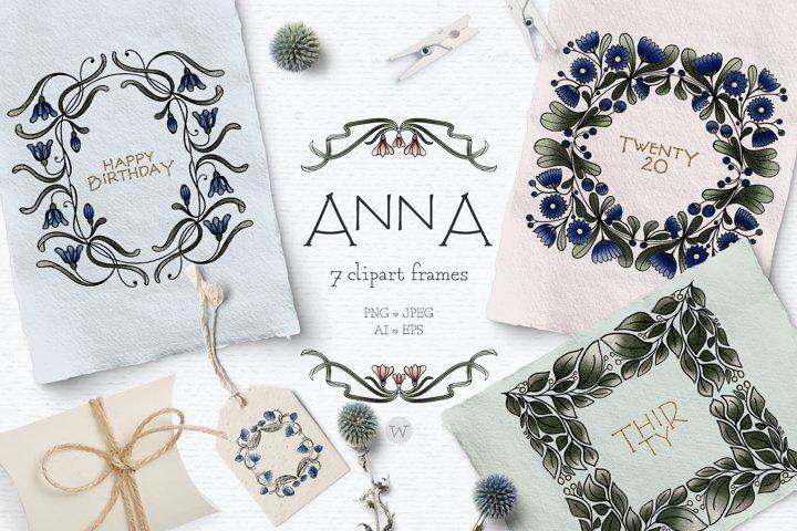 Floral clipart, vintage clipart, frame clipart, botanical