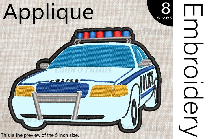 Applique Police Car - Embroidery Files - 1474e