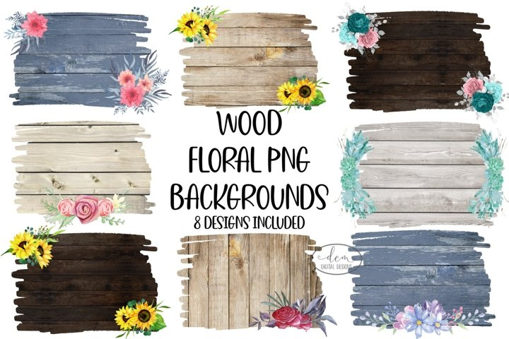 Rustic Wood Floral Backgrounds Bundle sublimation PNG design