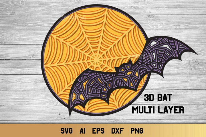 Multi Layer Halloween Bat SVG | 3d Layered Moon Cut File