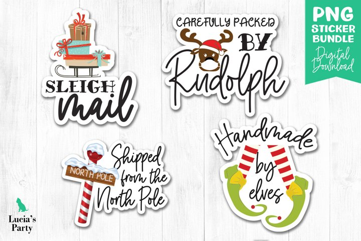 Christmas stickers, Packaging Sticker, Print and Cut