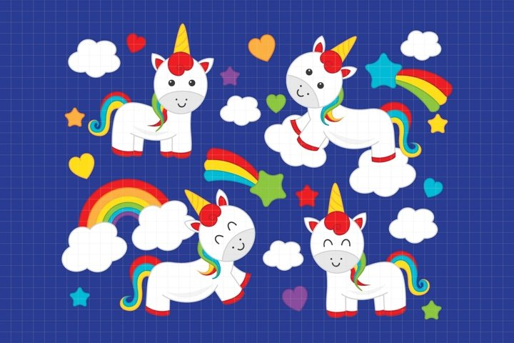 Rainbow Unicorn-Digital Clipart LES.CL76A