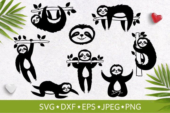 Set of handdrawn cute funny slothes. Vector illustration SVG