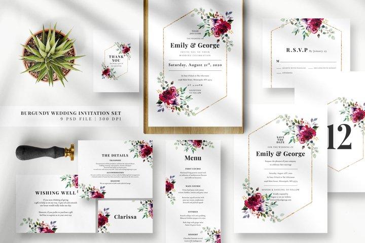 Burgundy Wedding Invitation Set