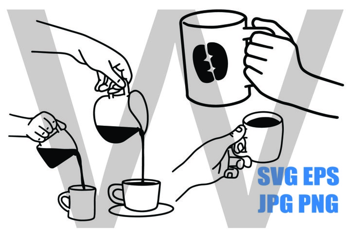 Coffee Cup Set A - Holding and Pouring - SVG EPS JPG PNG