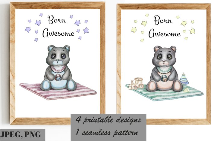 Watercolor Cute Bear with toys, printable set of wall arts