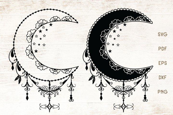 Floral Decorative Moon SVG - Vector