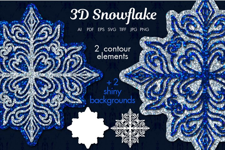 3D Snowflake Contours and 2 shiny backgrounds
