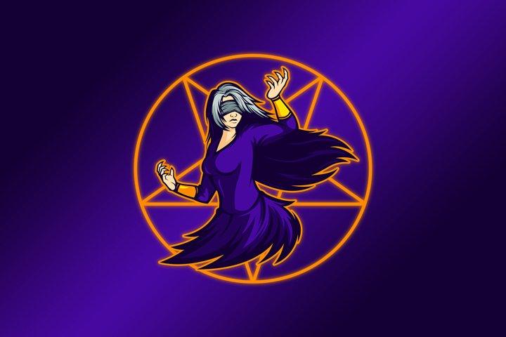 Blind Lady Dancing Mascot Vector Template
