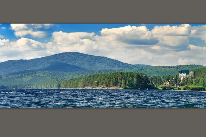 Nice view of the mountain lake Turgoyak.