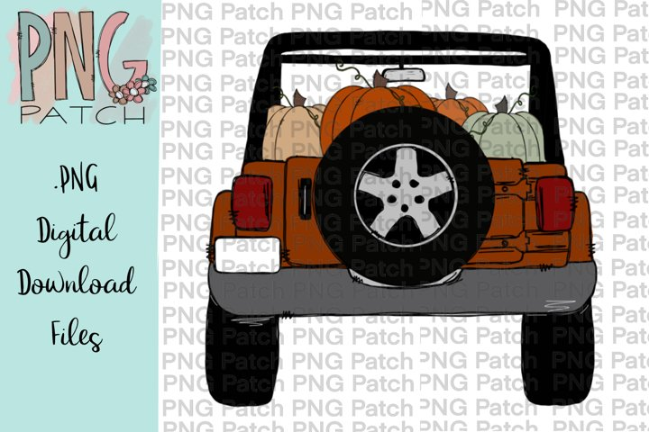 Burnt Orange Topless SUV with Pumpkins, Fall PNG File