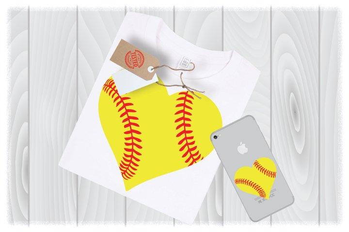 Softball Heart SVG Files for Cricut Designs | Sport