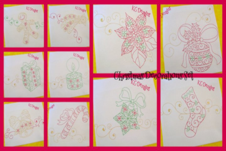 Christmas Decorations 6x8 Set Machine Embroidery Designs
