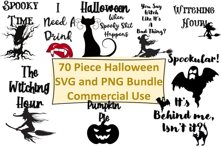 Halloween Bundle SVG and PNG 70 Pieces