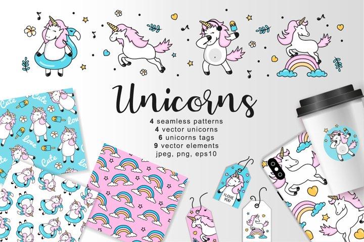 Vector unicorns set, 4 vector seamless pattern