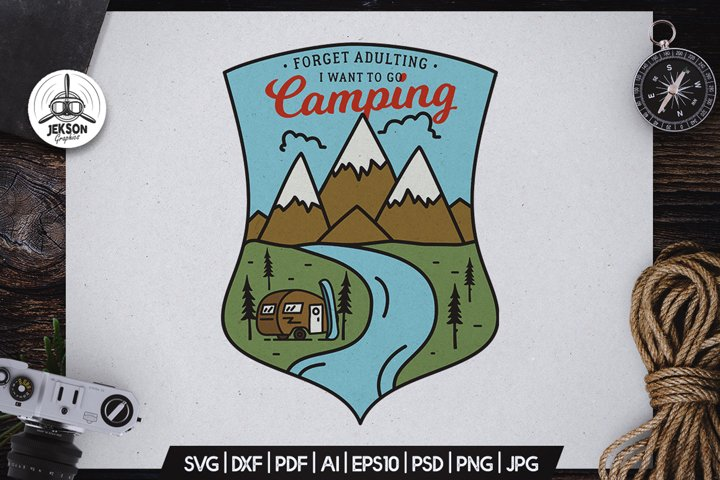 Camping Hiking Badge Vector Retro Graphic Logo SVG PNG Files
