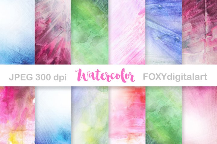 Digital Paper Watercolor Background Scrapbook Hand Painted