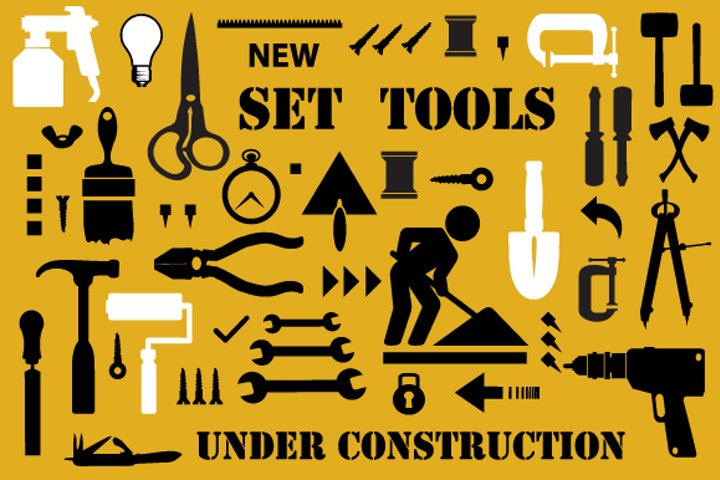 Set of building and electric tools