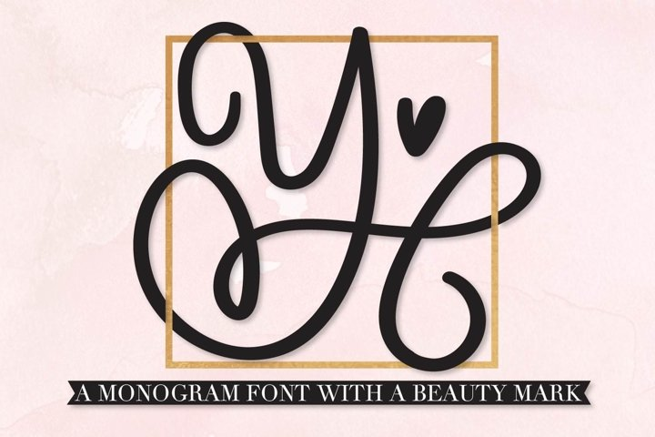 Scripty Monogram Font - With heart accents