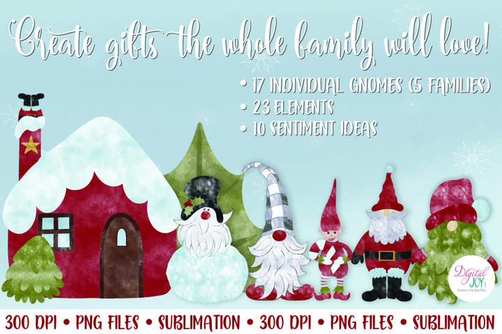Christmas Gnomes and Elves Sublimation PNG Bundle