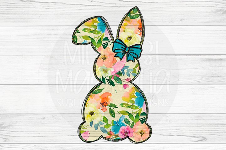 Floral Bunny with Blue Bow
