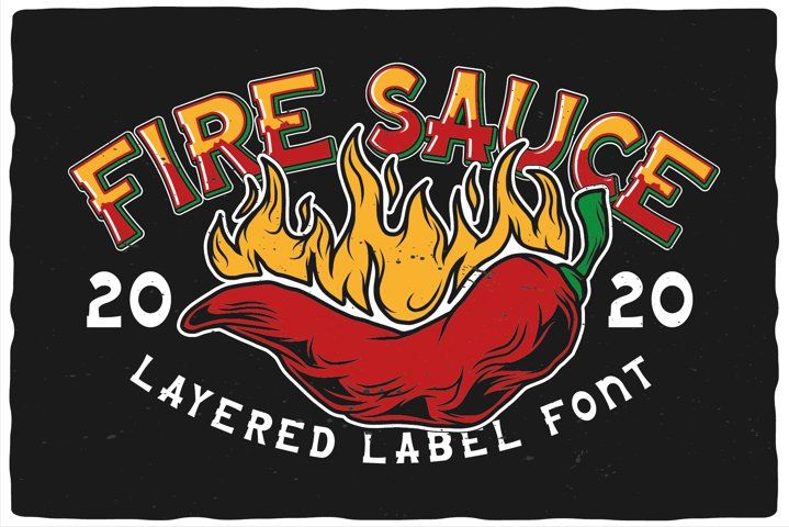 Fire Sauce. T-shirts, font and mockup.