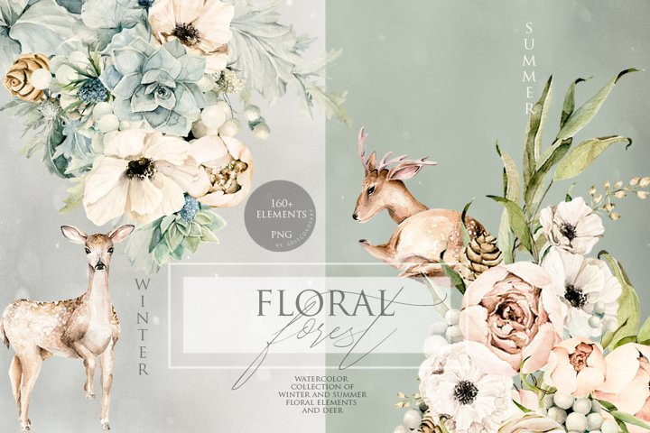 Floral forest, deer. Watercolor clipart