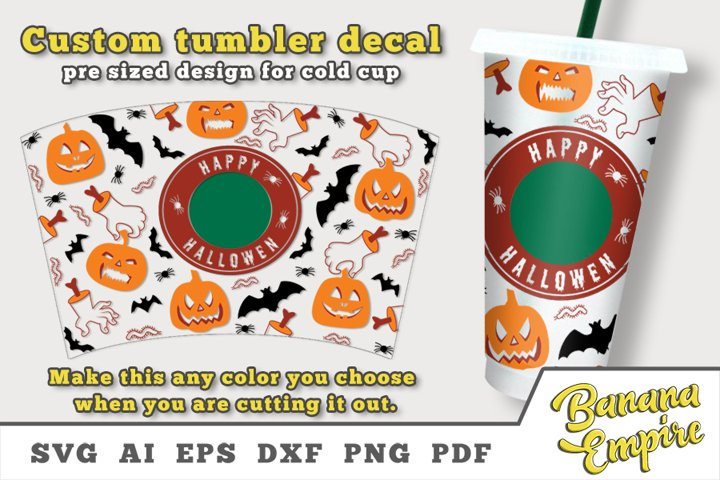 Halloween cold cup decal, sublimation, personalized Tumbler