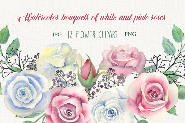 Watercolor bouquets of white and pink roses
